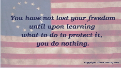 You have not lost your freedom until upon learning what to do to protect it, your do nothing.
