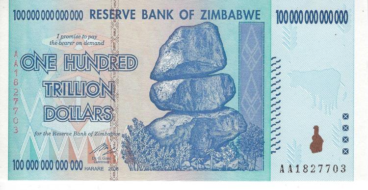 One Hundred trillion 2008 series Zimbabwe bond.